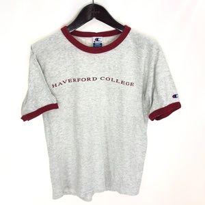 HAVERFORD COLLEGE T-shirt Champion M Ringer Gray